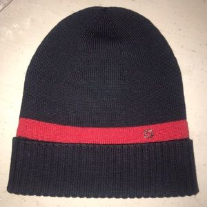 Gucci Brand New Hat 100% wool NAVY and RED UNISEX
